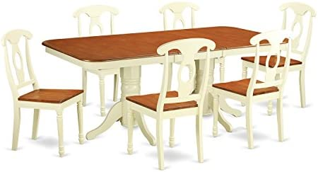 NAKE7-WHI-W 7 Pc Dining room set for 6-Dining Table with Leaf and 6 Dining Chairs.