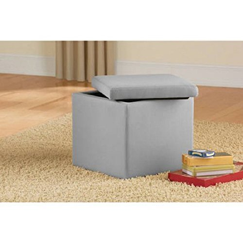 Faux Suede Ultra Storage Ottoman, Perfect As An Extra, Seat or Storage Great for Small Space Areas! (Silver) For Sale