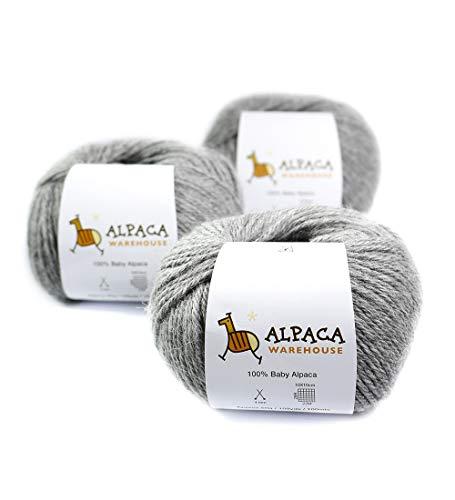 100% Baby Alpaca Yarn Wool Set of 3 Skeins Worsted Weight (Soft ()
