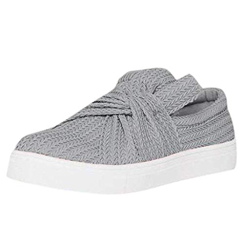 (Haalife◕‿Knit Loafers Women Fashion Low up Sneakers Crisscross Slip-on Flatform Bow Flat Comfortable Shoes Gray)