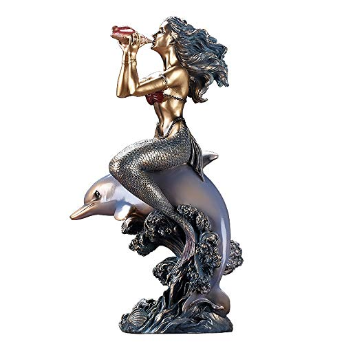 YD Sculpture Crafts - European Dolphin Mermaid Creative Sculpture Decoration Home Living Room Console Cabinet Multi-Function Decorative Decoration /&