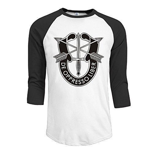 Us Army Special Forces Logo Men's Raglan 3/4 Sleeve T-shirt X-Large