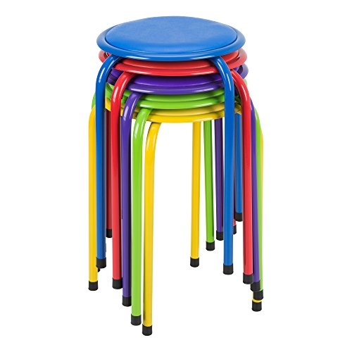 Fat Catalog ALT1102ACSO Metal Stack Stools with Padded Seat, Red/Purple/Blue/Green/Yellow (Pack of 5) (Seat Vinyl Yellow)