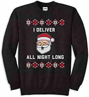 65fa85daf Men's Deliver All Night Long Santa Christmas Sweater - Funny Ugly Christmas  Sweatshirt