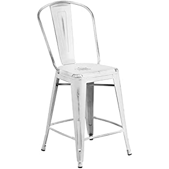 Flash Furniture 24u0027u0027 High Distressed White Metal Indoor Outdoor Counter  Height Stool With