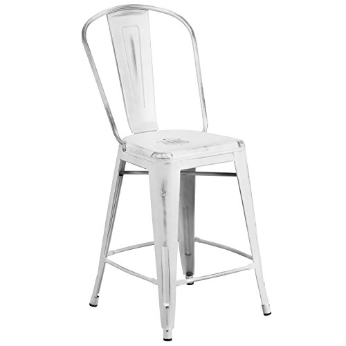 Flash Furniture 24'' High Distressed White Metal Indoor-Outdoor Counter Height Stool with Back