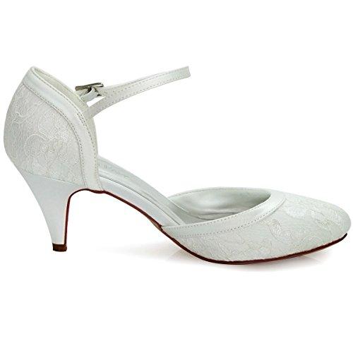 ElegantPark HC1508 Cerrado Zapatos de tacón Zapato con cierre Lace zapatos de novia Mujer marfil