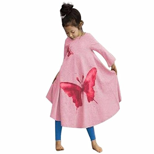 Misaky Kids Girls Long Sleeve Cotton Butterfly Princess Trumpet Dress (140(Age:6-7Y), Pink) ()