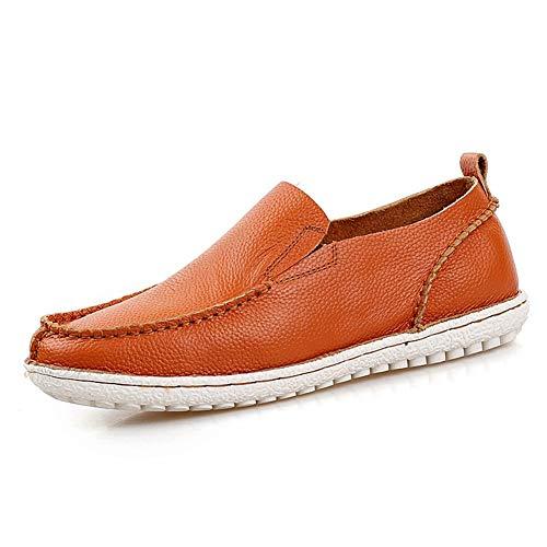 Marron 44 EU FeiNianJSh Bout Rond pour Hommes en Cuir véritable Slip on chaussures Loisirs Mocassins Conducteurs Oxfords Plat Penny Chaussures Doux Point à La Main Léger