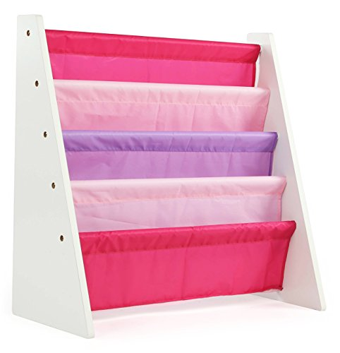 tot tutors kids book rack storage bookshelf, white/pink & purple (friends collection)