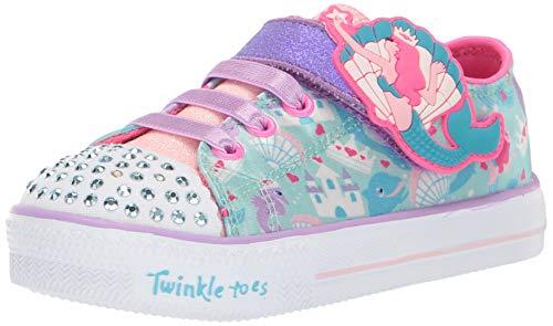 Skechers Kids Girls' Shuffle LITE-Charmed Friends Sneaker, Light Blue/Multi, 10 Medium US Toddler (Skechers Girl Shoes Light Up)
