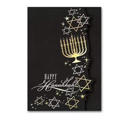 Golden Menorah Hanukkah Cards