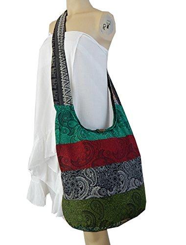 BTP! Thai Cotton Hippie Hobo Sling Crossbody Bag Messenger Purse Paisley Print Large (Patchwork Random Colors PWP)
