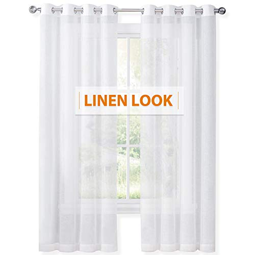 (RYB HOME Privacy White Sheer Drapes for Bedroom, Window Curtains for High Ceiling, Sunlight Filtering for Interior Spaces/Sliding Glass Door, W 55 in x L 95 in, 2 Pcs)