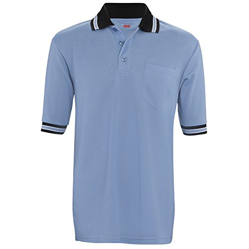 Adams USA Short Sleeve Baseball Umpire Shirt - Sized for Chest Protector, Carolina Blue, Medium