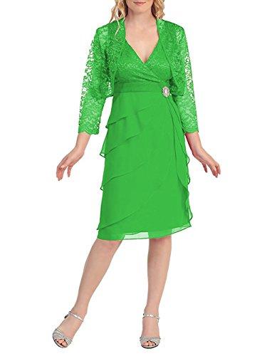 Dressyu Courte Dentelle Femmes Col V Mariée Robe De Mère Avec La Veste Robe Formelle Vert Émeraude