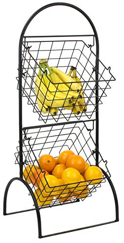 Sorbus 2-Tier Wire Market Basket Storage Stand for Fruit, Vegetables, Toiletries, Household Items, Stylish Tiered Serving Stand Baskets for Kitchen, Bathroom Organization (2 Tier Basket - Black) (Basket For Onion Potato And)