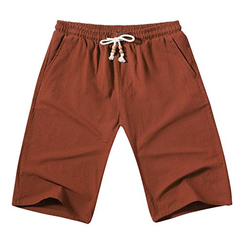 WULFUL Men's Casual Classic Fit Shorts Drawstring Summer Beach Linen Shorts