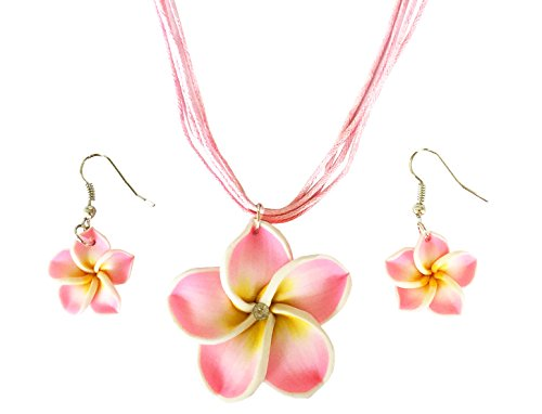 - BetteRWeatheR Hawaiian Plumeria Flower Necklace and Earring Jewelry Set Handmade Beach Girl Reggae Jamaican Jewelry Adjustable (Light Pink)