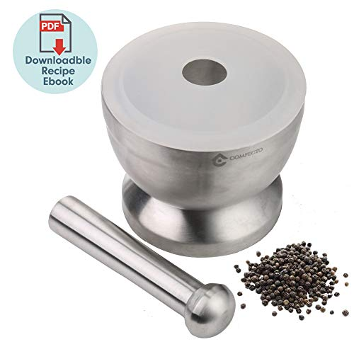 18/8 Stainless Steel Mortar and Pestle Spice Grinder with Lid for Crushing Grinding Ergonomic Design with Anti Slip Base and Comfy Grip - -