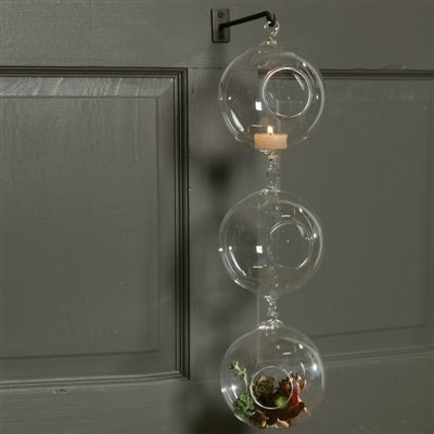 Set of Three Hanging Glass Bubble Candle Holders, Terrariums with Hook (Cb2 Holders Candles Candle)