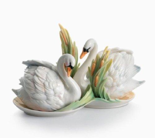 Swan Lake Swan Porcelain Salt & Pepper Shaker Set by Franz Collection