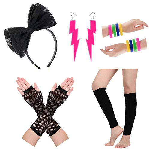 80s Fancy Dress Costume Accessories for Women Neon Earrings Leg Warmers Gloves (Set 16) by Zivyes