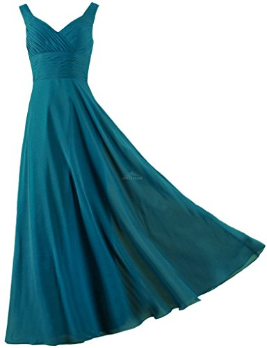 Dress Homecoming Teal (ANTS Formal Straps Pleated Long Straight Bridesmaid Dresses Prom Homecoming Size 4 US Teal)