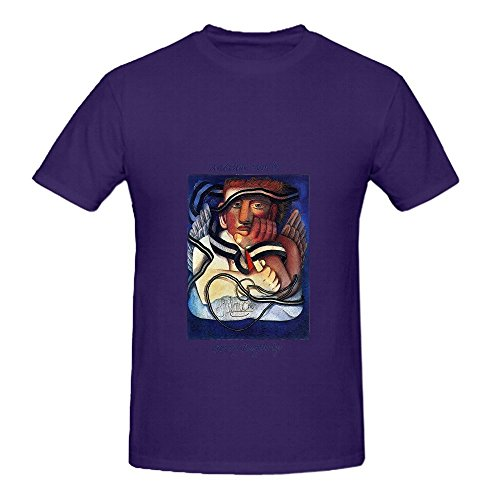 Gerry Rafferty Another World Tour Rock Mens Crew Neck Printed Tee Purple (Medieval Dres)