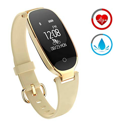 ZKCREATION Fitness Tracker for Women Activity Watch and Heart Rate Monitor IP67 Waterproof Smart Bracelet with Sleep Monitor Pedometer Calorie Compatible with Android and iOS(Gold)