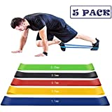 Elitehood Resistance Loop Exercise Bands for Home Fitness, Stretching, Strength Training, Physical Therapy with Carry Bag, Set of 5