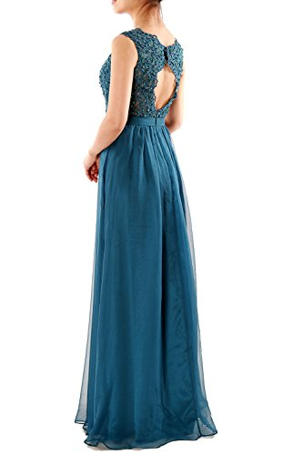MACloth Dresses Chiffon Lace Neck Women Party Long Grau V Gown Evening Prom Formal rqOwra4