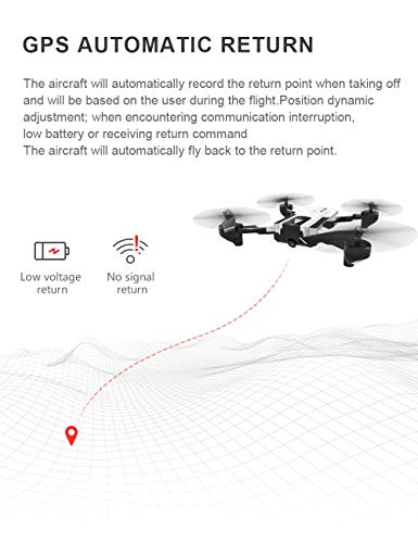 Hisoul SG900-S Foldable Quadcopter Drone 2.4GHz 1080P HD Camera WiFi FPV GPS Fixed Point Drone - One Button Fixed Height/GPS Fixed/Fixed Height/Smart Follow, Round Point Flight, Black, White (B) by Hisoul (Image #6)