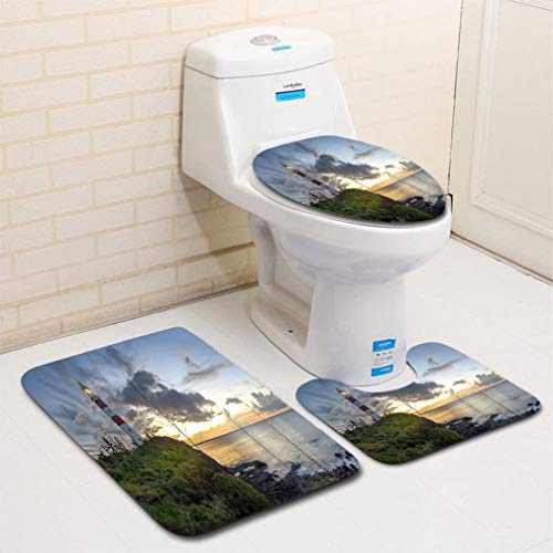 MTSJTliangwan Home Bathroom 3 Piece Sets, Included Bath Area Rug+Contour Mat+Lid Toilet Seat Cover Albion Lighthouse Flannel - Tile Albion