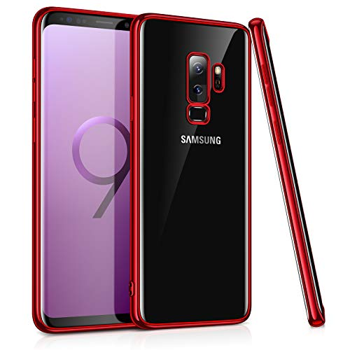 TORRAS Crystal Clear Galaxy S9+ Plus Case,Slim Fit Ultra Thin Transparent Soft TPU Gel Case Cover Compatible with Galaxy S9 Plus?6.2? - Red