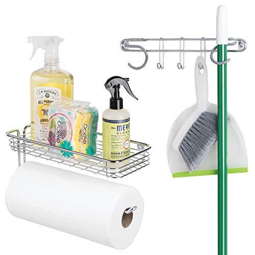 Paper Mop (mDesign Wall Mount Metal Storage Organizers for Kitchen - Includes Paper Towel Holder with Multi-Purpose Shelf and Broom/Mop Holder with 3 Hooks - for Pantry, Laundry, Garage - 2 Piece Set - Chrome)