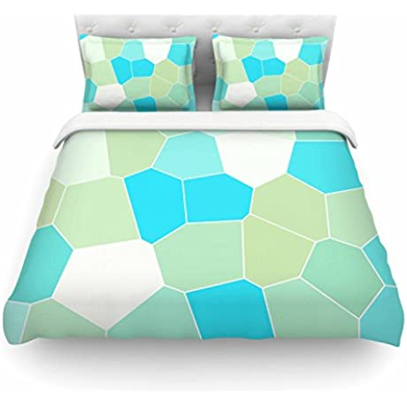 KESS InHouse SC4120ACD02 Duvet Cover Sylvia Coomes Aqua Sage Blue Green Queen Featherweight Duvet Cover 88 X 88