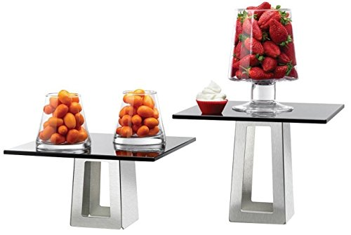 Rosseto SK005 Stainless Steel and Black Glass 4-Piece Pyramid Buffet Riser Kit by Rosseto