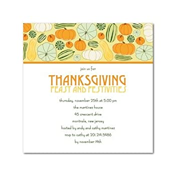 Thanksgiving Party Invitations Gourd Gathering By Umbrella