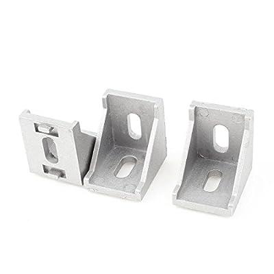 3 Pcs Silver Tone Metal 90 Degree Door Angle Bracket 30mm x 30mm