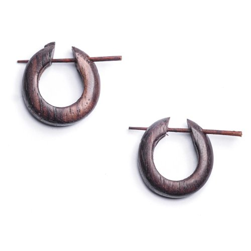 Tribal Wood Earrings - 81stgeneration Wood Brown Handmade Small Round Tribal Earrings