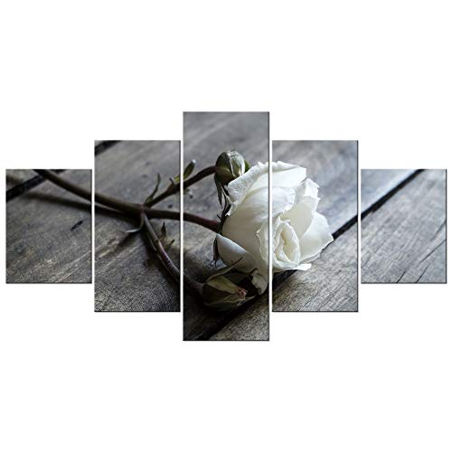 Bedroom Bed Canvas - Wieco Art White Rose Large Modern 5 Panels Wrapped Floral Giclee Canvas Prints Black and white Flowers Artwork Pictures Paintings on Canvas Wall Art for Living Room Bedroom Home Office Decorations