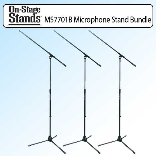 On Stage MS7701B Euro Boom Microphone Stand Black Outfit Of 3 (Ms7701b Euro Boom Microphone Stand)