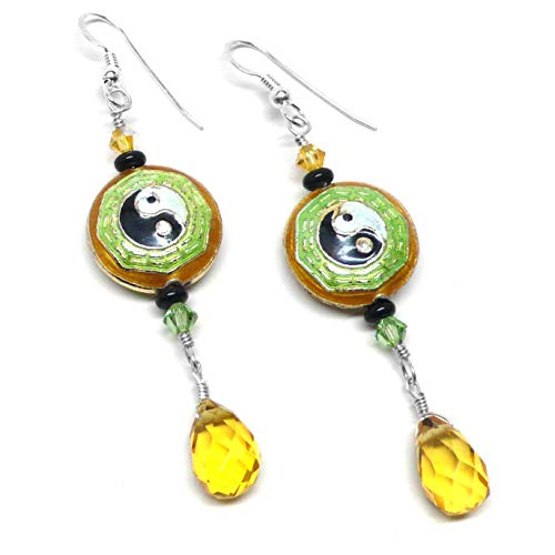 Chinese Cloisonne Yin Yang Created Yellow Quartz Briolette Dangle Earrings Swarovski Crystal Sterling Silver OOAK
