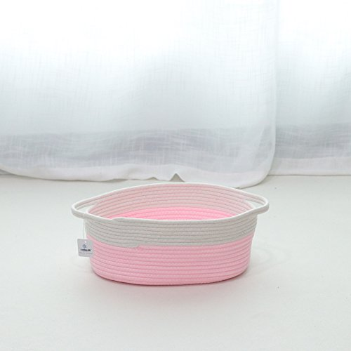 Iceblue Pink Toy Storage Soft Cotton Rope Storage Basket Toy Chest Home Decoration (Large)