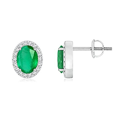 Angara Basket-Set Oval Natural Emerald Stud Earrings with Diamond QQnmhpe