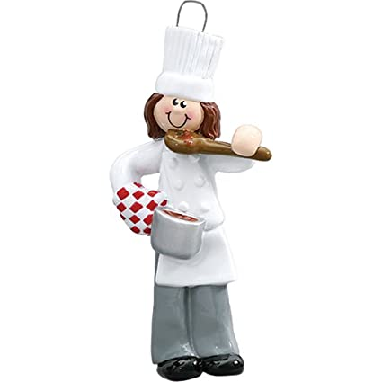 Personalized Chef Christmas Ornament for Tree 2018 - Brunette Chief Female  Cooker in White Taste with - Amazon.com: Personalized Chef Christmas Ornament For Tree 2018