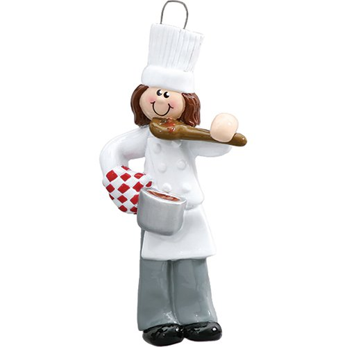 Cooking Christmas Ornaments - Personalized Chef Christmas Tree Ornament 2019 - Brunette Chief Female Cooker White Taste Pan Best Restaurant New Brown Hair Mom Cuisine Profession Job Year - Free Customization (Girl)