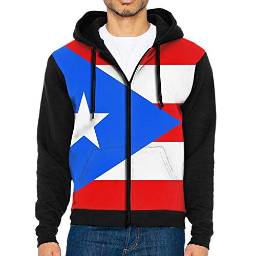 Flag of Puerto Rico Design Men Zipper Hoodie Sweatshirt Sportswear Jackets with Pockets Black