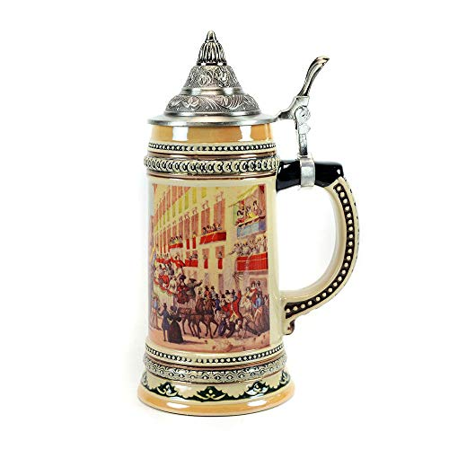 0.6 Liter Ceramic German Beer Stein with Metal Lid